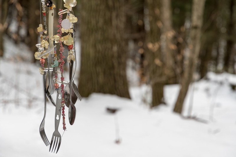 An unusual encounter on a forest trail - wind chimes made from beads and kitchen utensils!