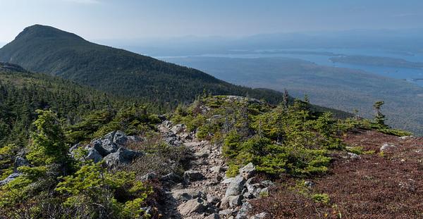 Approaching Avery Peak, Bigelow Mountain, Maine.