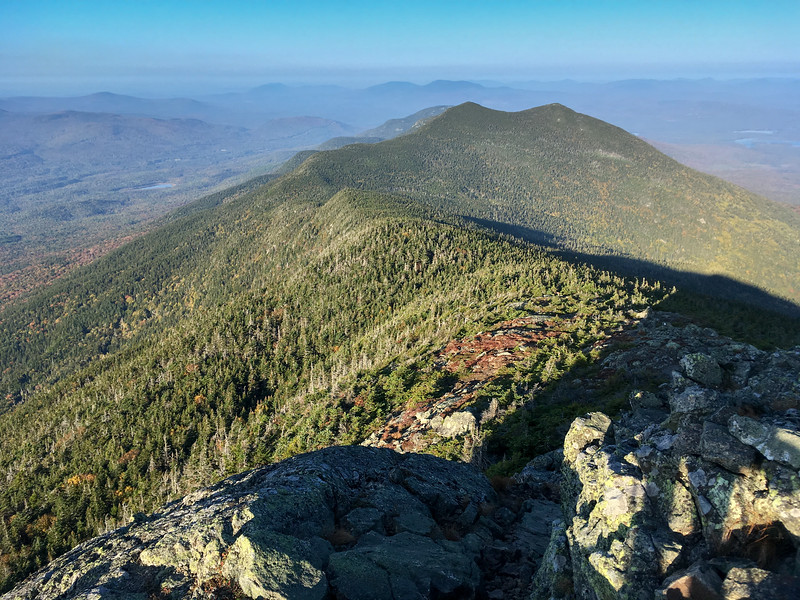 Early morning view of The Horns from West Bigelow peak, Bigelow Mountain, Maine.