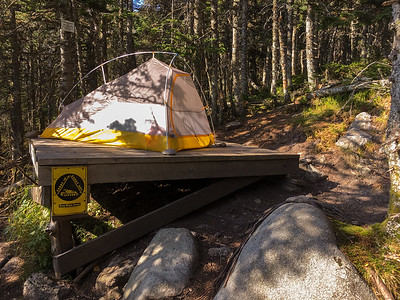 My tent at the Avery Col campsite, Bigelow Mountain, Maine,