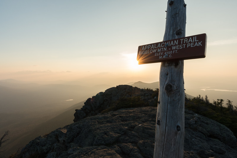 Nearing sunset on the summit of West Peak, Bigelow Mountain, Maine.