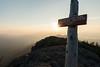 Nearing sunset on the summit of West Peak, Bigelow Mountain, Maine.