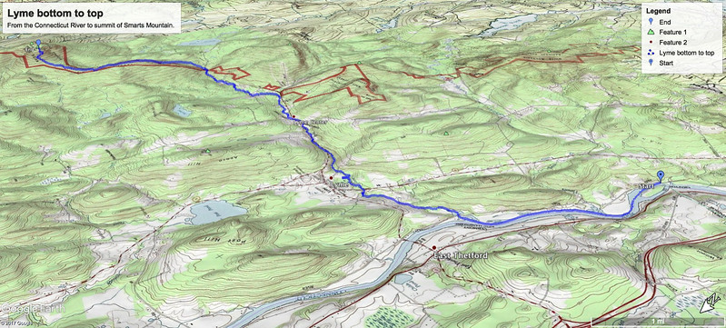 Map of my route from Lyme's low point to high point.