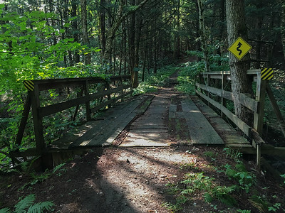 The first bridge over Grant Brook is part of the Lyme Hill trail network.