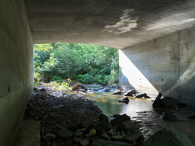Grant Brook flows under Route 10.