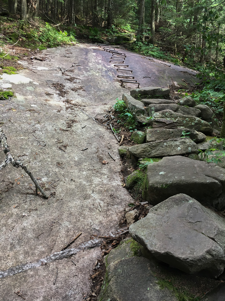 The upper section of the AT/Ranger trail is extremely steep and eroded, but there is some impressive trailwork.