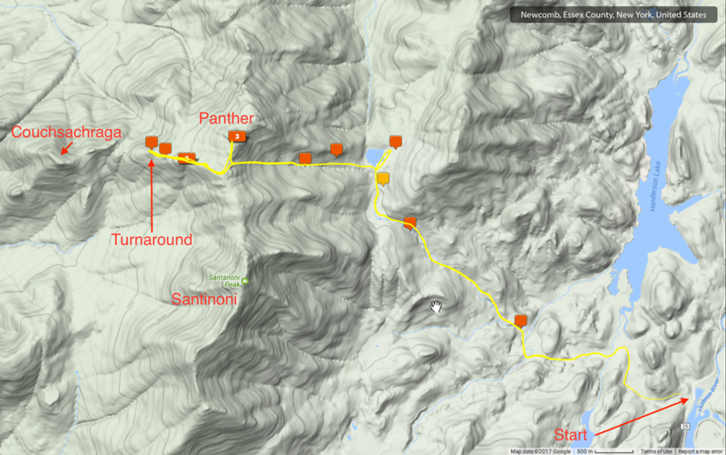 Map of my hike, with hand-drawn sketch of the route in yellow.