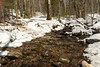 Early April on the Glencliff Trail - thin snow cover and a free-running brook belie the wintery conditions above.