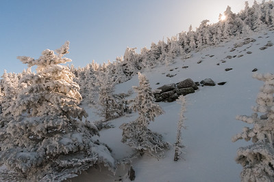 """The sun rises over South Peak to """"lunch rocks"""", indicating we're near the end of the Glencliff Trail on Moosilauke."""