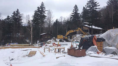 Moosilauke Ravine Lodge, under construction, after the first phase of timberframe.