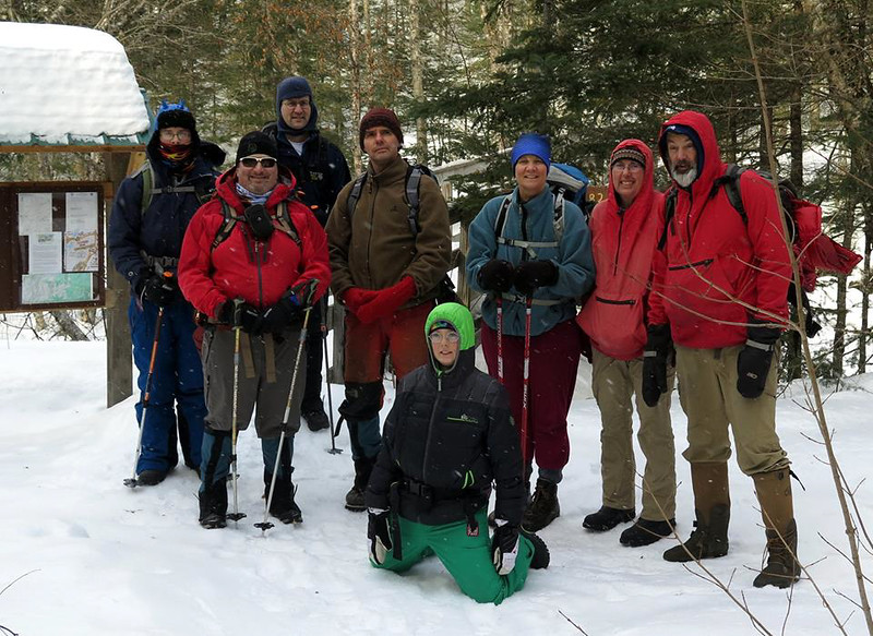 The group starts off on our hike up Moosilauke - Andy, David, David, Lars, Benjamin, Jen, Kathy, and David. Photo by David Metsky.
