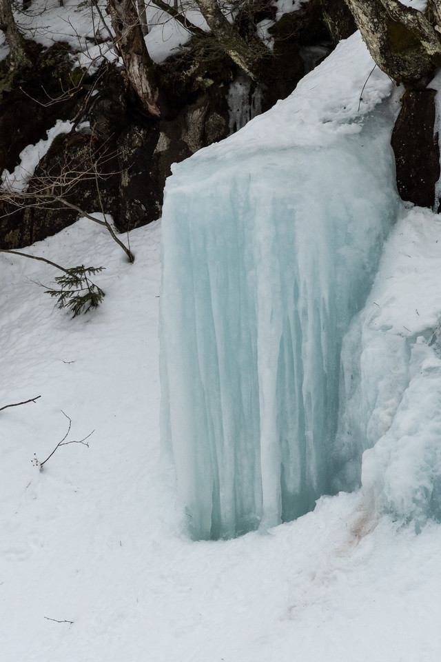Ice formations along Little River, lower North Twin trail.
