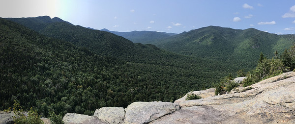 Adirondack view, L to R from Rooster Comb: Wolfjaws, Marcy, and Big Slide.