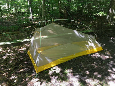 My nifty new tent - Big Agnes Flycreek, shown here without the rain fly.