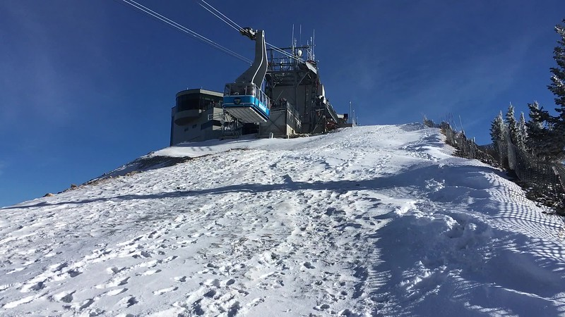 The Snowbird tram approaches Hidden Peak.