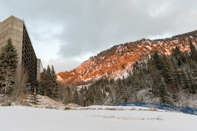 Cliff Lodge and late-afternoon light after a snowfall, Snowbird.