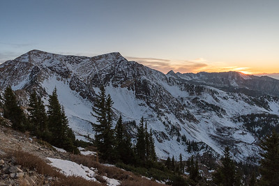 Views from Hidden Peak at Snowbird, toward the Twin Peaks and the sunset.