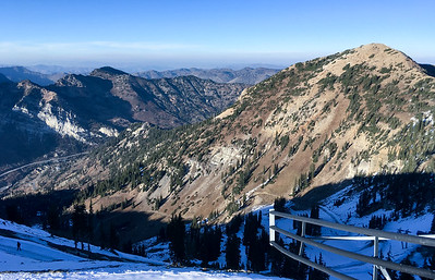 Views from Hidden Peak at Snowbird, back toward the Snowbird base and Little Cotton Canyon.