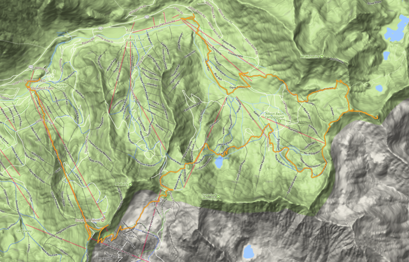 MotionX capture of hiking track (orange), starting from Alta base (center top) and ending at Snowbird (left).