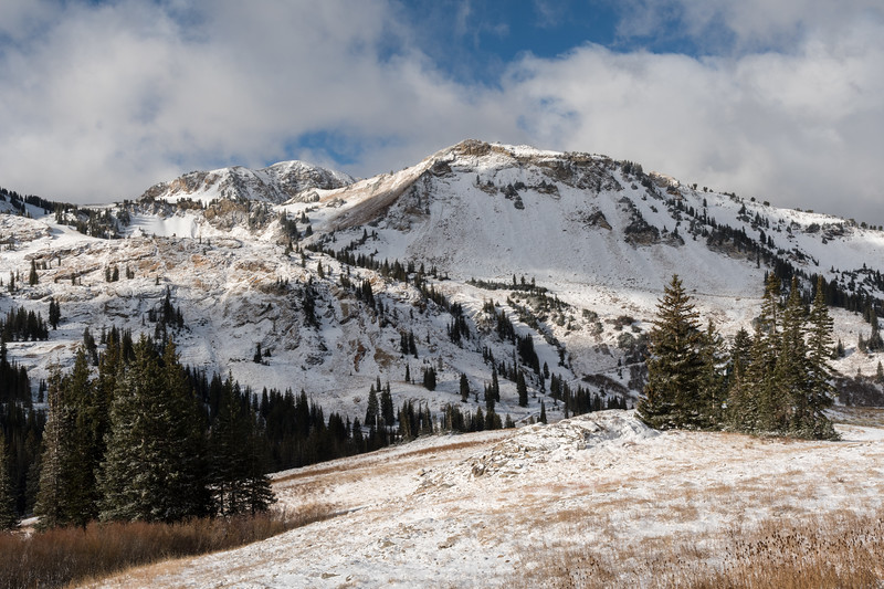 High-country views while hiking up the slopes at Alta. The far/big peak is Mount Baldy.