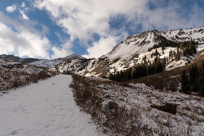 Hiking up trails along the slopes at Alta.