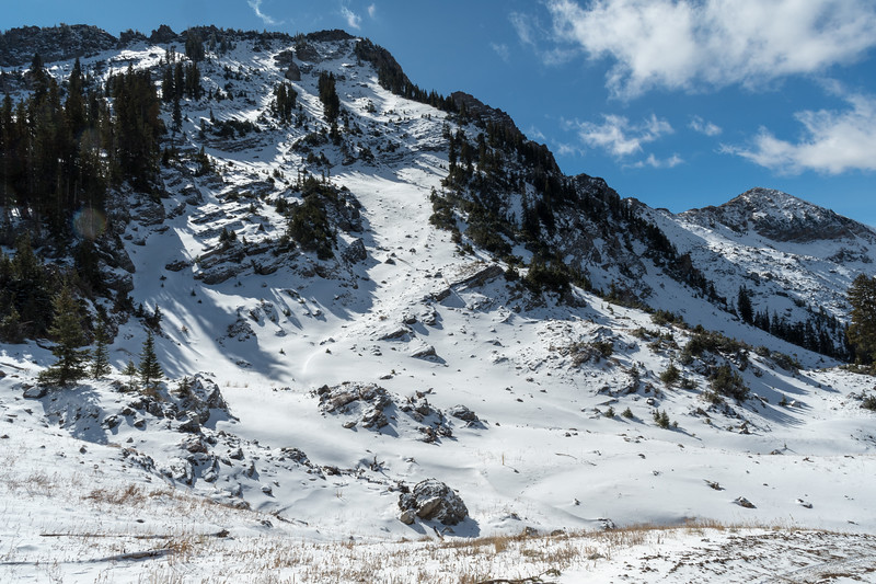 View above the Albion Basin to some snowfields below Devil's Castle.
