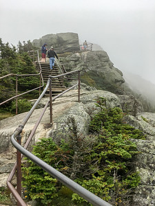 Steps lead from the parking area to the summit of Whiteface Mountain.