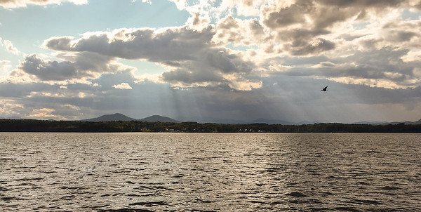 Essex NY and the Adirondack Mountains from the Lake Champlain Ferry.
