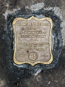 Memorial plaque on the summit of Mount Esther.