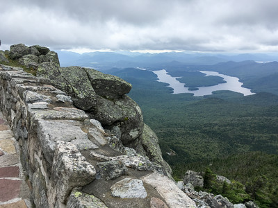 A view of Lake Placid from the walkway near the summit of Whiteface Mountain.