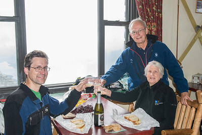 David celebrates his 46th peak with Mom and Dad at the Castle restaurant on the summit of Whiteface.