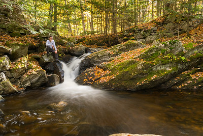 David photographs cascades on Grant Brook, Lyme NH.