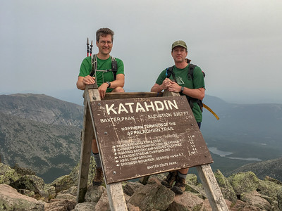 David and Jon on the summit of Baxter Peak, Mount Katahdin!