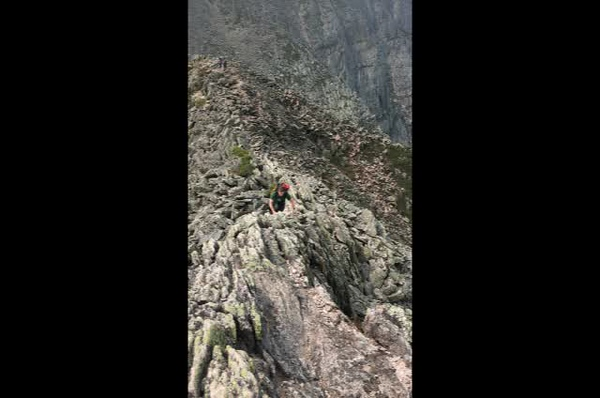 Video of Jon traversing one of the narrowest parts of the Knife Edge.