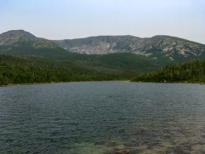 """One of the Basin Ponds, with a view of Katahdin's """"north basin""""; our route goes up the left-hand ridge and then left out of frame."""