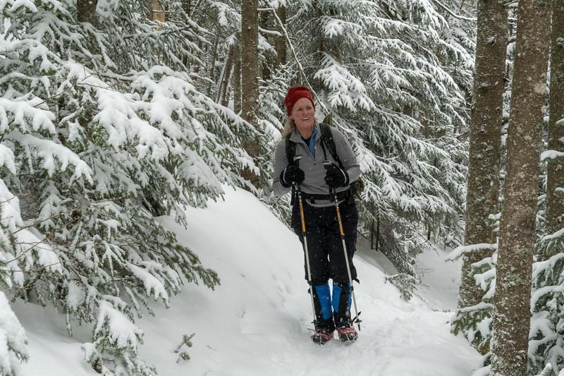 Lelia climbs the Glencliff Trail, Mount Moosilauke.