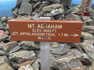 Sign at the summit of Mount Abraham.