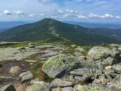 View from The Horn back to Saddleback  Mountain, along the A.T. in Maine.