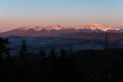 The Presidential Range of the White Mountains, New Hampshire, at sunset, as view from Mount Martha.