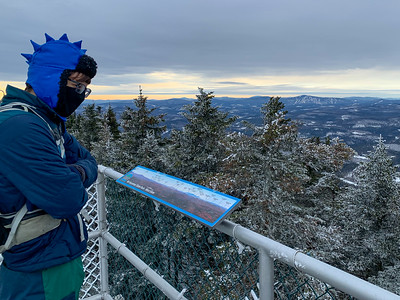 Andy surveys the wintry view from Mount Ascutney.