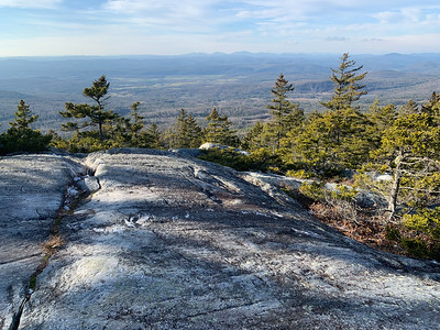 Ledges with westerly views, along the trail up Black Mountain, NH.