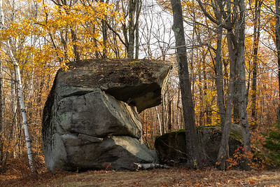 A glacial erratic along the trails of the Dartmouth Skiway.