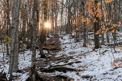 The Appalachian Trail climbs to Holts Ledge in mid October, after the first snowfall of the season.