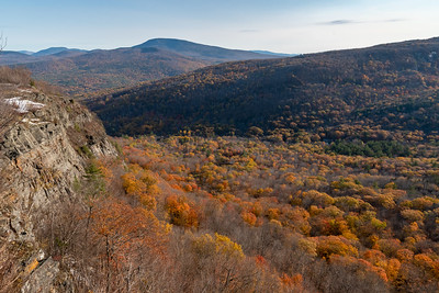 View of Holts Ledge with (L to R) Moosilauke, Cube, and Smarts, in mid October.
