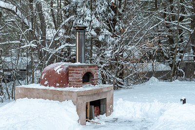 Pizza oven after clearing the snow,