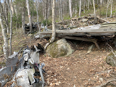 Wreckage of the B18 bomber on the slopes of Mount Waternomee.
