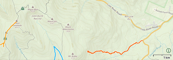Map of our route up Walker Brook road and to the bomber site (orange track, starting at right).
