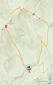 Map of my hike up Gorge Brook (the brook) and down the Ridge Trail, with bypass over Mount Blue.