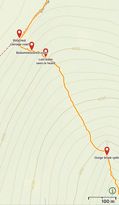 Map of my hike up the upper reaches of Gorge Brook, reaching the Carriage Road.