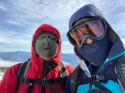 Kathy and Dave on the summit of Moosilauke – a very windy day!